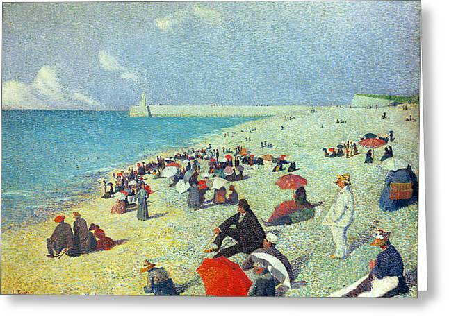 Beach Umbrellas Greeting Cards - On The Beach Greeting Card by Leon Pourtau