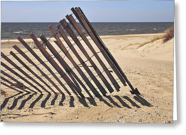 Sand Fences Photographs Greeting Cards - On The Beach Greeting Card by Odd Jeppesen