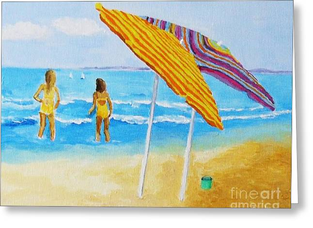 Greeting Card featuring the painting On The Beach by Rodney Campbell