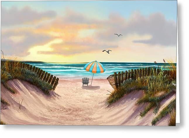 Print On Canvas Greeting Cards - On the Beach Greeting Card by Sena Wilson