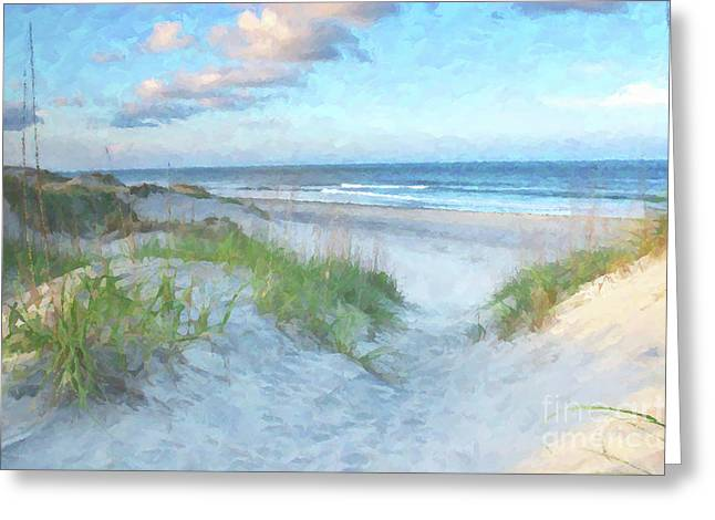 Vacation Greeting Cards - On The Beach Watercolor Greeting Card by Randy Steele