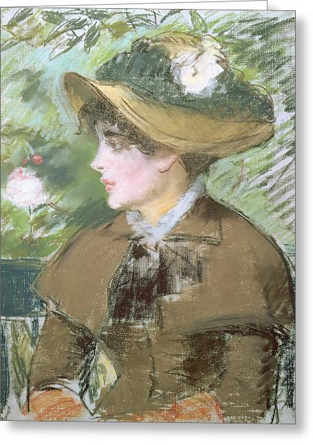 Jacket Greeting Cards - On the Bench Greeting Card by Edouard Manet