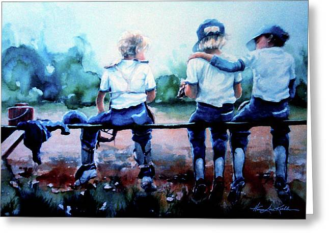 Baseball Art Greeting Cards - On The Bench Greeting Card by Hanne Lore Koehler