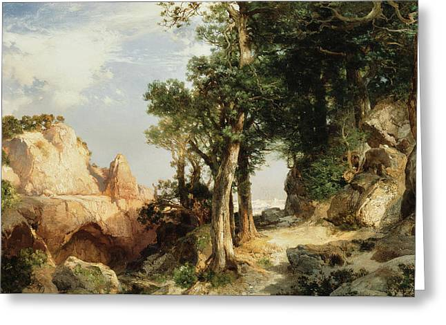 On The Berry Trail  Grand Canyon Of Arizona Greeting Card by Thomas Moran