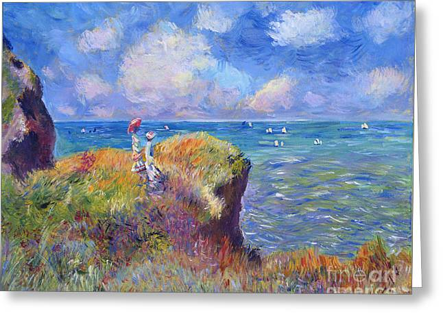 Ocean Landscape Greeting Cards - On The Bluff at Pourville - Sur Les Traces de Monet Greeting Card by David Lloyd Glover