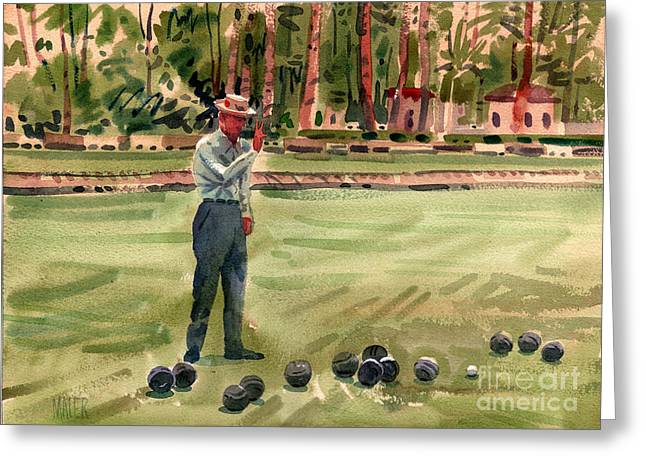 Bowl Greeting Cards - On the Bowling Green Greeting Card by Donald Maier