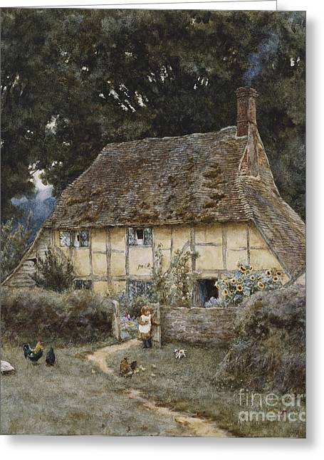 Cockerel Greeting Cards - On the Brook Road near Witley Greeting Card by Helen Allingham