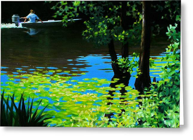 On the Calcasieu Greeting Card by Kevin Lawrence Leveque