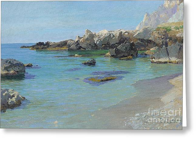 Calm Paintings Greeting Cards - On the Capri Coast Greeting Card by Paul von Spaun