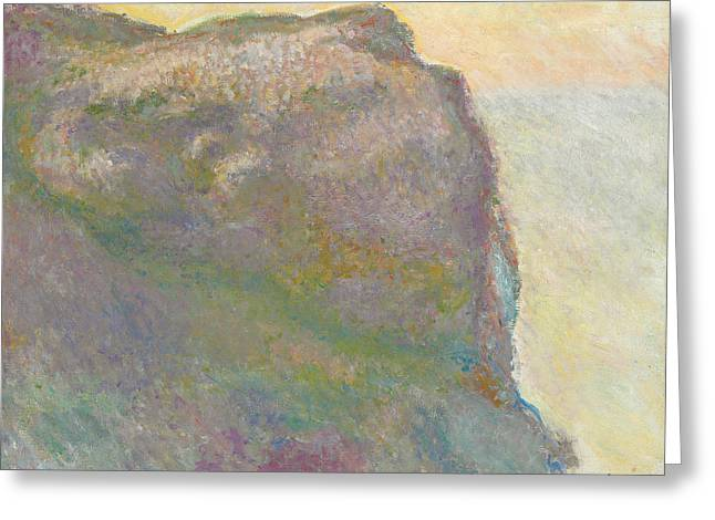 Haze Paintings Greeting Cards - On the Cliff Greeting Card by Claude Monet