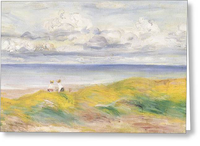 On The Cliffs Greeting Card by Pierre Auguste Renoir