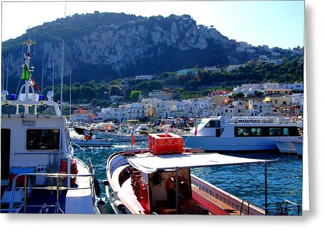 Yatch Greeting Cards - On the Coast of Capri Greeting Card by Mindy Newman