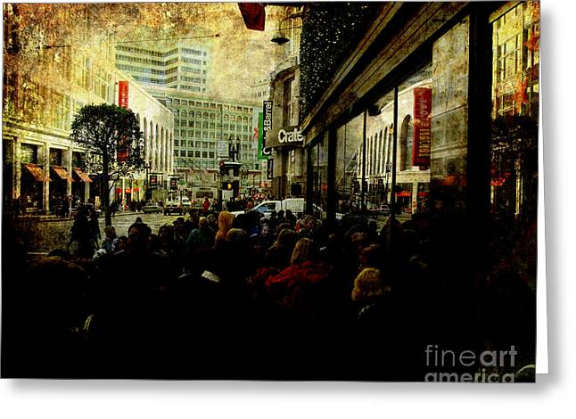 On The Day Before Christmas On Stockton Street Sf . Texture Greeting Card by Wingsdomain Art and Photography