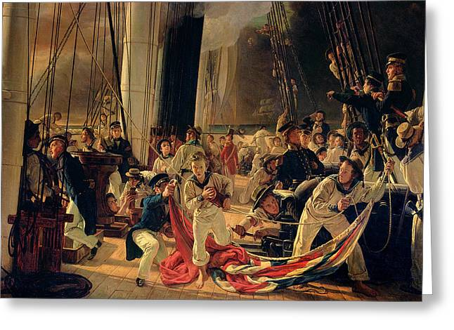 On The Deck During A Sea Battle Greeting Card by Francois Auguste Biard