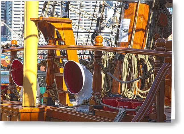 Tall Ships Greeting Cards - On The Deck Of James Craig Greeting Card by Miroslava Jurcik