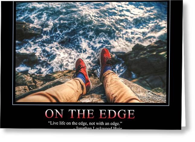 On The Edge Greeting Card by Dave Lee