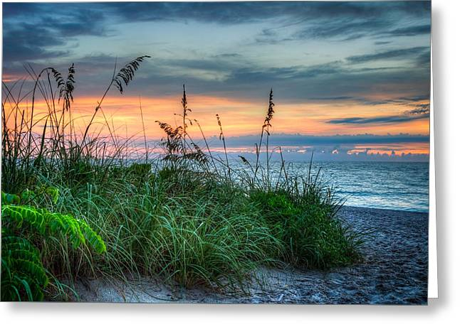 Sanddunes Greeting Cards - On the Edge of Sunrise Greeting Card by Debra and Dave Vanderlaan