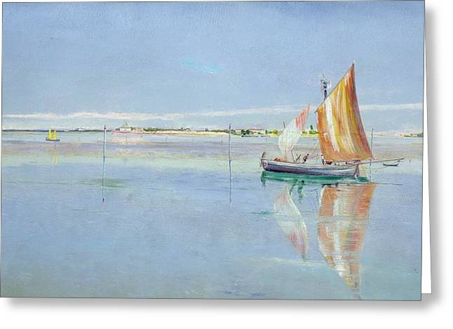 Yachting Greeting Cards - On the Lagoon Greeting Card by John William Inchbold