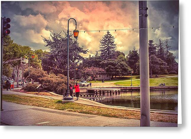 Streetlight Greeting Cards - On the lake corner.... Greeting Card by Philip Hennen