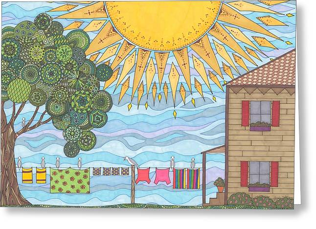 Summer Scene Drawings Greeting Cards - On The Line Greeting Card by Pamela Schiermeyer