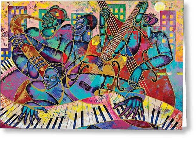 Ethnic Diversity Greeting Cards - On The Main Stage Greeting Card by Larry Poncho Brown
