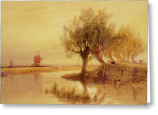Lights Reflecting On Water Greeting Cards - On the Norfolk Broads Greeting Card by Edward Duncan