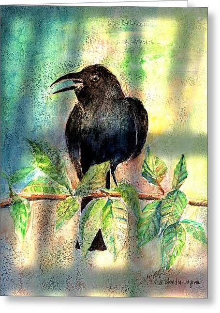 Raven Greeting Cards - On The Outside Looking In Greeting Card by Arline Wagner