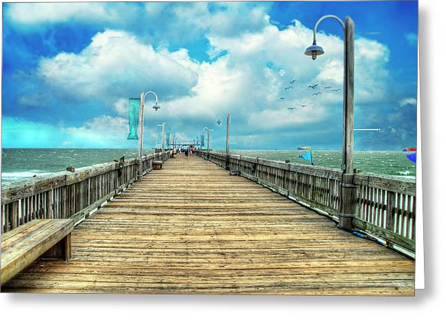 On The Pier At Tybee Greeting Card by Tammy Wetzel