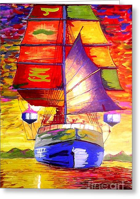 Cardboard Greeting Cards - On the River  Greeting Card by Moscolexy Moscolexy