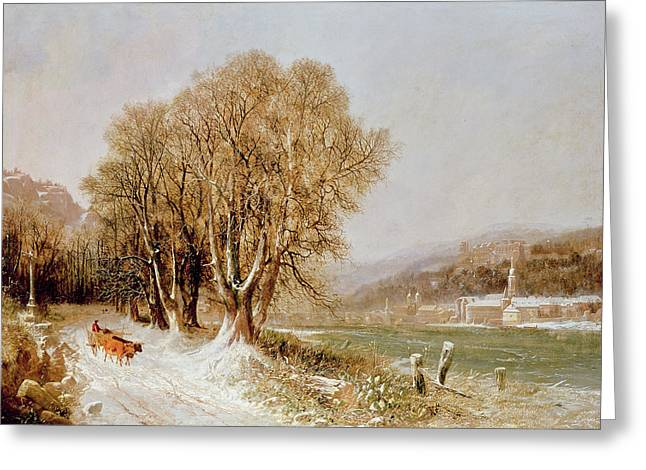 Crisp Greeting Cards - On the River Neckar near Heidelberg Greeting Card by Joseph Paul Pettit