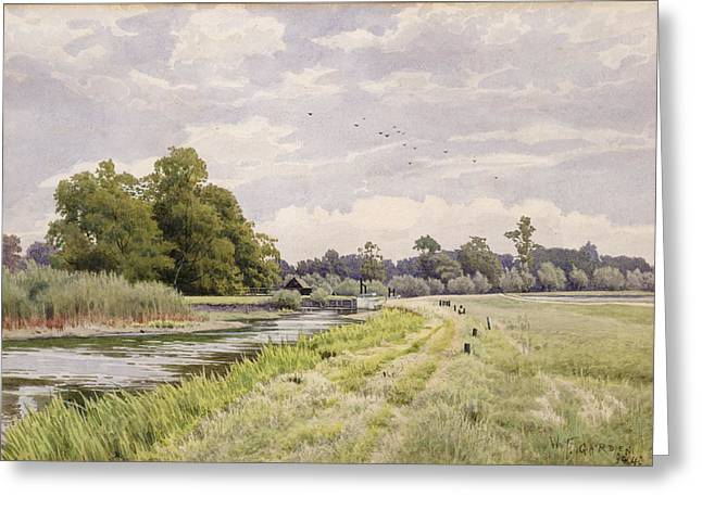 Great Birds Greeting Cards - On the River Ouse Hemingford Grey Greeting Card by William Fraser Garden