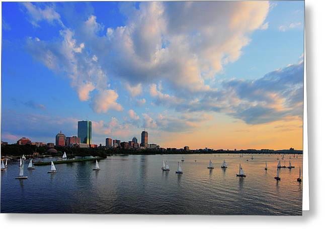 Boston Photographs Greeting Cards - On The River Greeting Card by Rick Berk