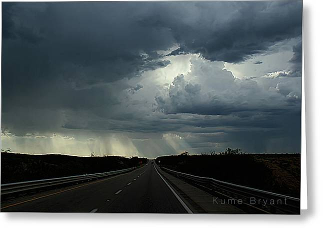 Scenic Drive Greeting Cards - On the Road No 2 Greeting Card by Kume Bryant