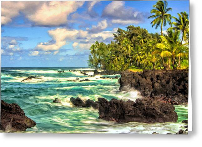 Lahaina Greeting Cards - On the Road to Hana Maui Greeting Card by Dominic Piperata