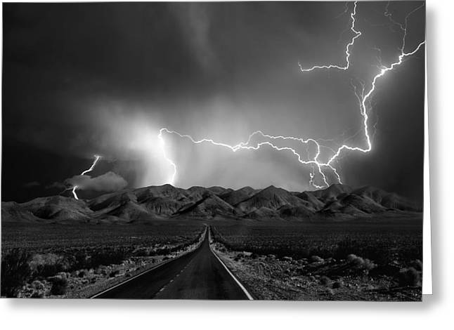 Thunderstorm Greeting Cards - On The Road With The Thunder Gods Greeting Card by Yvette Depaepe