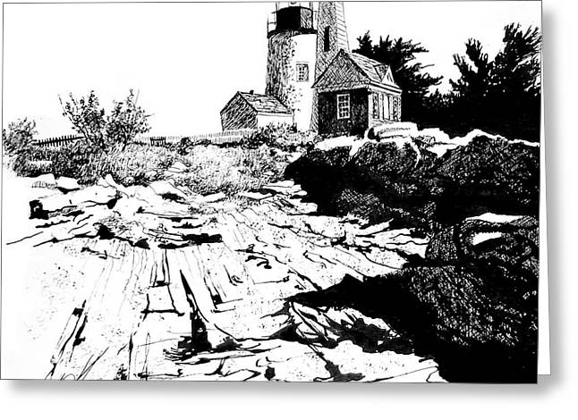 Barn Pen And Ink Greeting Cards - On the Rocks Greeting Card by William Kelsey
