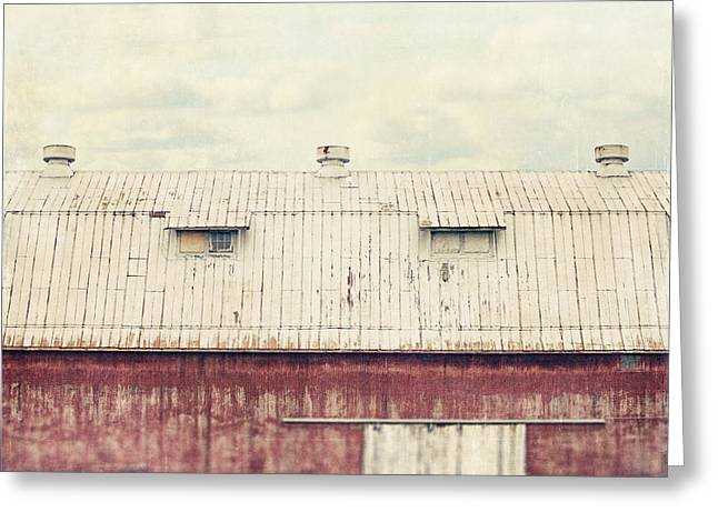 Red Roofed Barn Greeting Cards - On the Roof Greeting Card by Lisa Russo