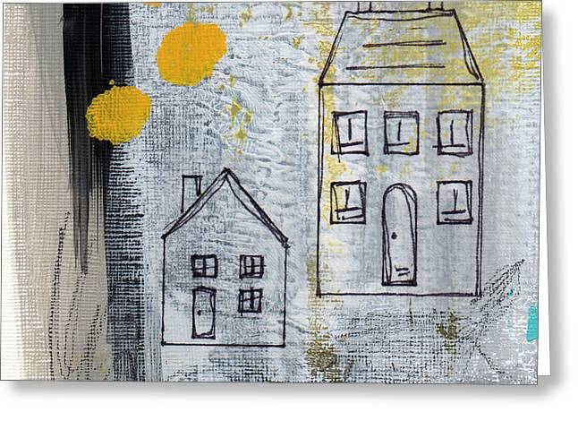 Blue-gray Greeting Cards - On The Same Street Greeting Card by Linda Woods