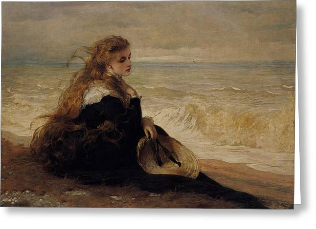 Vintage Images Greeting Cards - On The Seashore Greeting Card by George Elgar Hicks