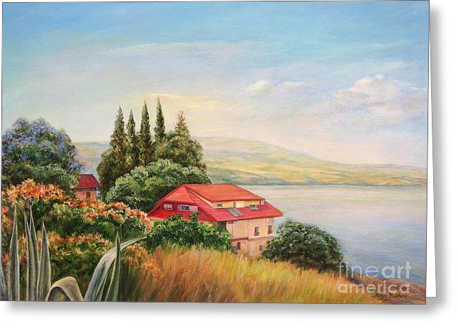 Sunlight On Flowers Greeting Cards - On the shore of the Kinneret Greeting Card by Maya Bukhina