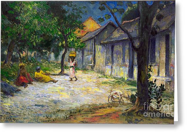 Vintage Painter Greeting Cards - Village in Martinique Greeting Card by Gauguin