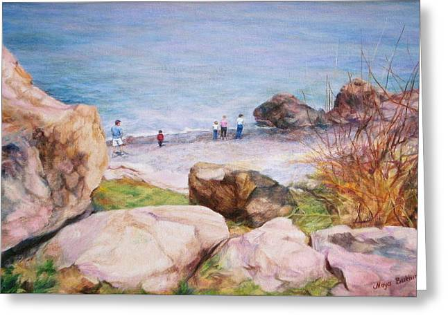 People Paintings Greeting Cards - On the shore of the ocean Greeting Card by Maya Bukhina