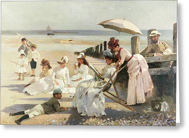 Best Sellers -  - On The Beach Greeting Cards - On the Shores of Bognor Regis Greeting Card by Alexander M Rossi