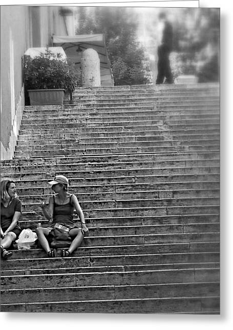 On The Steps Greeting Card by Bc May