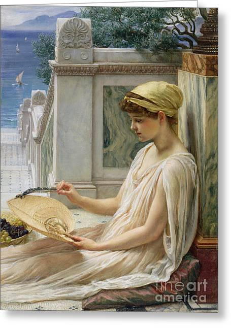 Edwards Greeting Cards - On the Terrace Greeting Card by Sir Edward John Poynter