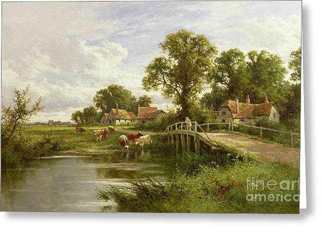 On The Thames Near Marlow Greeting Card by Henry Parker