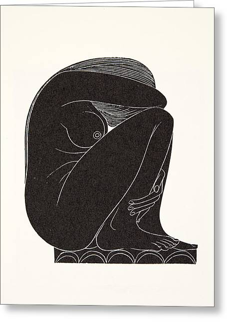 Crouched Greeting Cards - On the Tiles Greeting Card by Eric Gill