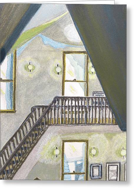 Bannister Paintings Greeting Cards - On the Up and Up Greeting Card by Cora Morley Eklund