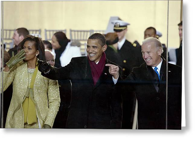 Vice President Biden Greeting Cards - On The Viewing Stand - 2009 Inaugural Parade Greeting Card by Mountain Dreams