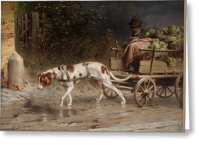 Going To Market Greeting Cards - On The Wagon To Market Greeting Card by Carl Reichert